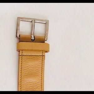 Prada Tan Belt Gold Tone Hardware made in Italy